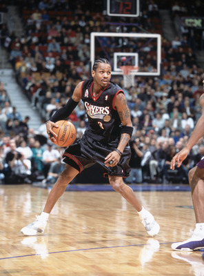 25 Nov 2001: Allen Iverson #3  of the Philadelphia 76ers dribbles the ball during the game against the Toronto Raptors at the Air Canada Centre in Toronto, Canada. The Raptors defeated the 76ers 107-88. TO USER: User expressly acknowledges and agrees that