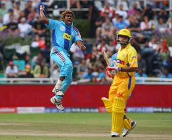CAPE TOWN, SOUTH AFRICA - APRIL 18:  Lasith Malinga of Mumbai celebrates taking the wicket of Parthiv Patel of Mumbai during the IPL T20 match between Mumbai Indians and Chennai Super Kings at Newlands Cricket Ground on April 18, 2009 in Cape Town, South