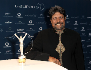 ABU DHABI, UNITED ARAB EMIRATES - MARCH 10:  Kapil Dev arrives at the Laureus World Sports Awards 2010 at Emirates Palace Hotel on March 10, 2010 in Abu Dhabi, United Arab Emirates.  (Photo by Ian Walton/Getty Images for Laureus)