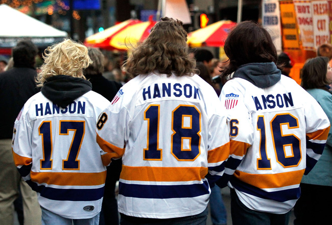 RALEIGH, NC - JANUARY 28:  Fans dressed as the 'Hanson Brothers' walk outside the NHL Fan Fair part of 2011 NHL All-Star Weekend at the Raleigh Convention Center on January 28, 2011 in Raleigh, North Carolina.  (Photo by Kevin C. Cox/Getty Images)