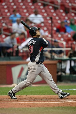 ST. LOUIS, MO - JULY 12:  World Futures All-Star Jesus Montero of the New York Yankees bats during the 2009 XM All-Star Futures Game at Busch Stadium on July 12, 2009 in St. Louis, Missouri. (Photo by Elsa/Getty Images)