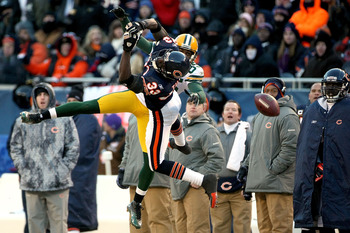 CHICAGO, IL - JANUARY 23:  Charles Tillman #33 of the Chicago Bears is unable to intercept a pass intended for Greg Jennings #85 of the Green Bay Packers in the third quarter of the NFC Championship Game at Soldier Field on January 23, 2011 in Chicago, Il