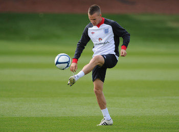 ST ALBANS, ENGLAND - AUGUST 09:  Tom Cleverley in action during the England training session at London Colney on August 9, 2011 in St Albans, England.  (Photo by Michael Regan/Getty Images)
