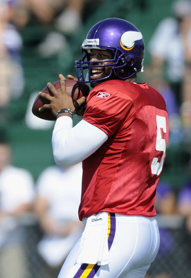 MANKATO, MN - AUGUST 4:  Donovan McNabb #5 of the Minnesota Vikings prepares to throw the ball during training camp at Minnesota State University on August 4, 2011 in Mankato, Minnesota. (Photo by Hannah Foslien/Getty Images)
