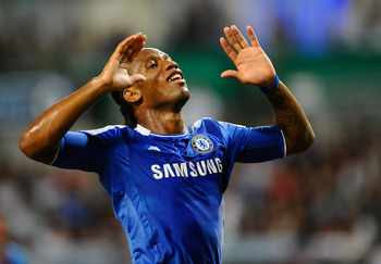 SO KON PO, HONG KONG - JULY 30: Didier Drogba of Chelsea reacts during the Asia Trophy Final match against Aston Villa at the Hong Kong Stadium on July 30, 2011 in So Kon Po, Hong Kong.  (Photo by Victor Fraile/Getty Images)