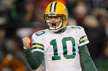 FOXBORO, MA - DECEMBER 19:  Quarterback Matt Flynn #10 of the Green Bay Packers reacts during the second quarter of the game against the New England Patriots at Gillette Stadium on December 19, 2010 in Foxboro, Massachusetts. The Patriots won the game 31-
