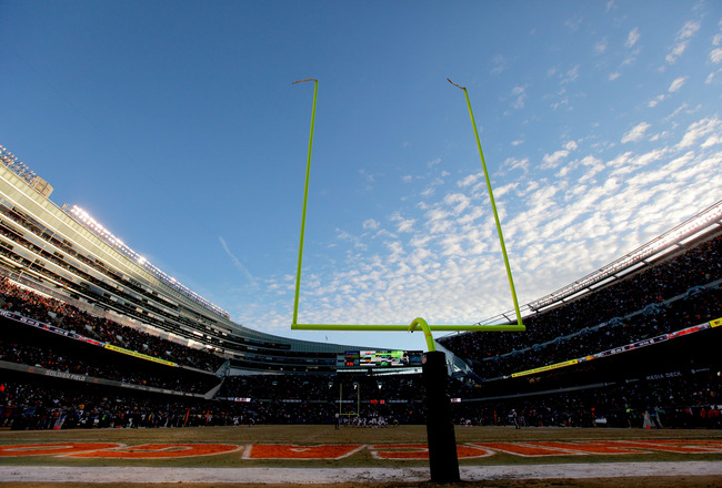 CHICAGO, IL - JANUARY 23:  A general view from the endzone in the NFC Championship Game between the Green Bay Packers and Chicago Bears at Soldier Field on January 23, 2011 in Chicago, Illinois.  (Photo by Doug Pensinger/Getty Images)