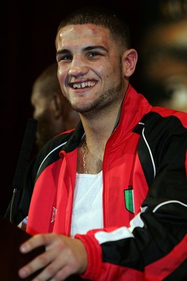 LAS VEGAS - DECEMBER 08:  Peter Manfredo Jr. smiles onstage at his post fight news conference after losing to Jeff Lacy after their super welterweight fight at the MGM Grand Garden Arena on December 8, 2007 in Las Vegas, Nevada.  (Photo by John Gichigi/Ge