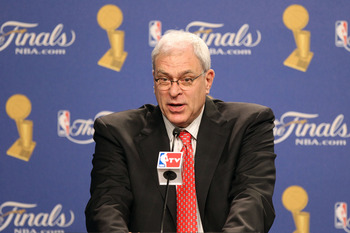 LOS ANGELES, CA - JUNE 03:  Head coach Phil Jackson of the Los Angeles Lakers answers questions from the media after the Lakers won 102-89 against the Boston Celtics in Game One of the 2010 NBA Finals at Staples Center on June 3, 2010 in Los Angeles, Cali