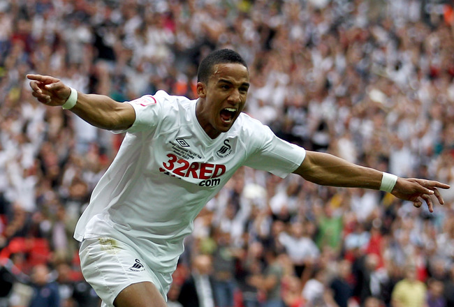 LONDON, ENGLAND - MAY 30:  Scott Sinclair of Swansea scores the second goal of the game during the npower Championship Playoff Final between Reading and Swansea City at Wembley Stadium on May 30, 2011 in London, England.  (Photo by Dean Mouhtaropoulos/Get