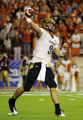 AUSTIN, TX - OCTOBER 10: Quarterback Tyler Hanson #9 of the Colorado Buffaloes throws against the Texas Longhorns on October 10, 2009 at Darrell K Royal-Texas Memorial Stadium in Austin, Texas. (Photo by Brian Bahr/Getty Images)