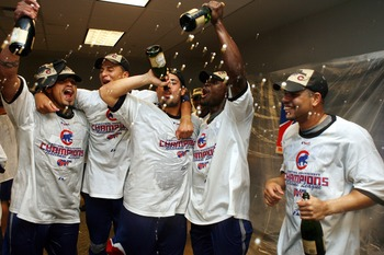 CINCINNATI - SEPTEMBER 28:  Chicago Cubs players celebrate winning the National League Central Division after they defeated the Cincinnati Reds 6-0 at Great American Ballpark September 28, 2007 in Cincinnati, Ohio.  (Photo by Mark Lyons/Getty Images)
