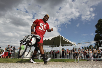 FLAGSTAFF, AZ - JULY 31:  Linebacker O'Brien Schofield #50 of the Arizona Cardinals walks off the field following the team training camp at Northern Arizona University on July 31, 2011 in Flagstaff, Arizona.  (Photo by Christian Petersen/Getty Images)