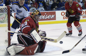 ST. LOUIS - APRIL 25:  Goaltender Steve Passmore #29 of the Chicago Blackhawks stops a shot against the St. Louis Blues during game five of the Western Conference Quarterfinal of the Stanley Cup Playoffs at the Savvis Center in St. Louis, Missouri. The Bl