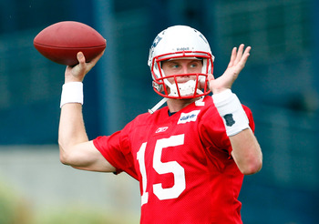 FOXBOROUGH, MA  - JULY 29:  Quarterback Ryan Mallett #15 of the New England Patriots participates in training camp at Gillette Stadium on July 29, 2011 in Foxborough, Massachusetts.  (Photo by Jim Rogash/Getty Images)