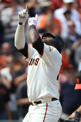 SAN FRANCISCO, CA - AUGUST 06:  Pablo Sandoval #48 of the San Francisco Giants celebrates after hitting a home run against the Philadelphia Phillies at AT&T Park on August 6, 2011 in San Francisco, California.  (Photo by Jed Jacobsohn/Getty Images)