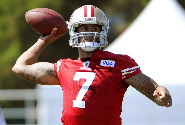 SANTA CLARA, CA - JULY 30: Colin Kaepernick #7 of the San Francisco 49ers participates in passing drills during practice at the San Francisco 49ers training facility on July 30, 2011 in Santa Clara, California. (Photo by Thearon W. Henderson/Getty Images)