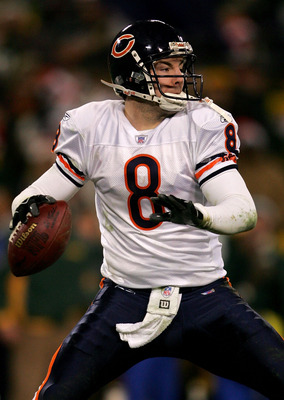 GREEN BAY, WI - DECEMBER 25: Quarteback Rex Grossman #8 of the Chicago Bears throws against the Green Bay Packers December 25, 2005 at Lambeau Field in Green Bay, Wisconsin. (Photo by Matthew Stockman/Getty Images)