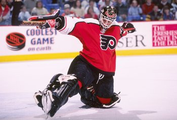 11 Mar 1997:  Goaltender Ron Hextall of the Philadelphia Flyers blocks a shot during a game against the Buffalo Sabres at the Marine Midland Arena in Buffalo, New York.  The Sabres won the game, 3-2. Mandatory Credit: Rick Stewart  /Allsport