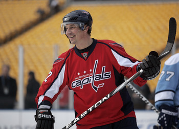PITTSBURGH, PA - DECEMBER 31:  Peter Bondra #12 of the Washington Capitals skates against the Pittsburgh Penguins during the 2011 NHL Winter Classic Alumni Game on December 31, 2010 at Heinz Field in Pittsburgh, Pennsylvania.  (Photo by Justin K. Aller/Ge