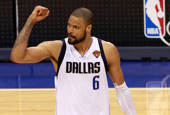 DALLAS, TX - JUNE 09:  Tyson Chandler #6 of the Dallas Mavericks celebrates the Mavericks 112-103 win against the Miami Heat in Game Five of the 2011 NBA Finals at American Airlines Center on June 9, 2011 in Dallas, Texas.  NOTE TO USER: User expressly ac