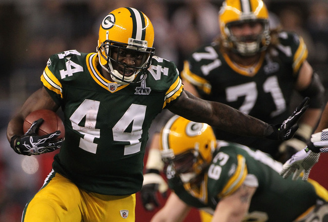 ARLINGTON, TX - FEBRUARY 06:  James Starks #44 of the Green Bay Packers runs the ball in the fourth quarter against the Pittsburgh Steelers during Super Bowl XLV at Cowboys Stadium on February 6, 2011 in Arlington, Texas.  (Photo by Doug Pensinger/Getty I