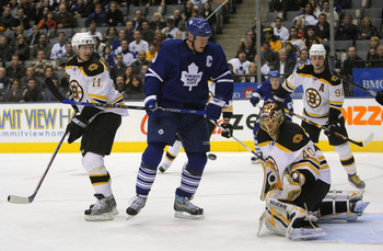 TORONTO - NOVEMBER 20:  Mats Sundin #13 of the Toronto Maple Leafs looks for a rebound in front of Tuukka Rask #40 and P.J. Axelsson #11of the Boston Bruins during the first period on November 20, 2007 at the Air Canada Centre in Toronto, Ontario, Canada.