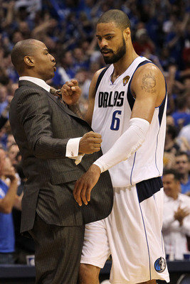 DALLAS, TX - JUNE 09: Caron Butler and Tyson Chandler #6 of the Dallas Mavericks celebrate against the Miami Heat in the fourth quarter of Game Five of the 2011 NBA Finals at American Airlines Center on June 9, 2011 in Dallas, Texas.  NOTE TO USER: User e