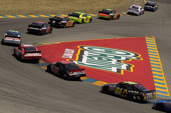 SONOMA, CA - JUNE 26:  A general view of cars racing during the NASCAR Sprint Cup Series Toyota/Save Mart 350 at Infineon Raceway on June 26, 2011 in Sonoma, California.  (Photo by Ezra Shaw/Getty Images for NASCAR)
