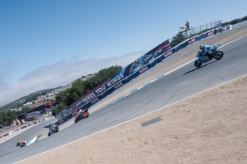 MONTEREY, CA - JULY 24:  The MotoGP riders ride on the corkscrew during the second free practice of the U.S. Grand Prix at Mazda Raceway Laguna Seca Circuit on July 24, 2010 in Monterey, California.  (Photo by Mirco Lazzari gp/Getty Images)