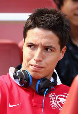 LONDON, ENGLAND - JULY 30:  Samir Nasri of Arsenal looks on ahead of the Emirates Cup match between New York Red Bulls and Paris St Germain at the Emirates Stadium on July 30, 2011 in London, England.  (Photo by Richard Heathcote/Getty Images)