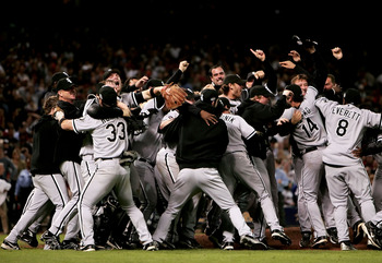 HOUSTON - OCTOBER 26:  The Chicago White Sox celebrate after winning Game Four of the 2005 Major League Baseball World Series against the Houston Astros at Minute Maid Park on October 26, 2005 in Houston, Texas. The Chicago White Sox defeated the Houston
