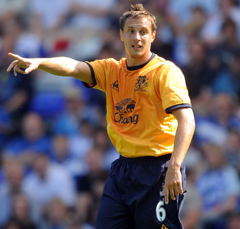 BIRMINGHAM, ENGLAND - JULY 30:  Phil Jagielka of Everton gestures during the pre season friendly between Birmingham City and Everton at St Andrews (stadium) on July 30, 2011 in Birmingham, England.  (Photo by Chris Brunskill/Getty Images)