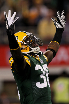 ARLINGTON, TX - FEBRUARY 06:  Tramon Williams #38 of the Green Bay Packers reacts against the Pittsburgh Steelers during Super Bowl XLV at Cowboys Stadium on February 6, 2011 in Arlington, Texas.  (Photo by Ronald Martinez/Getty Images)