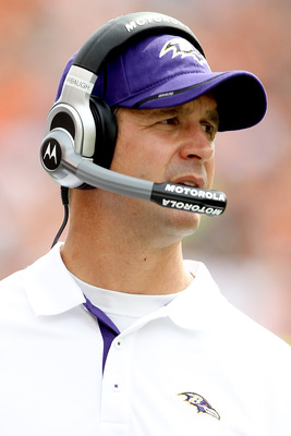 CINCINNATI - SEPTEMBER 19:  Head coach John Harbaugh of the Baltimore Ravens looks on from the sidelines while playing the Cincinnati Bengals at Paul Brown Stadium on September 19, 2010 in Cincinnati, Ohio.  (Photo by Matthew Stockman/Getty Images)