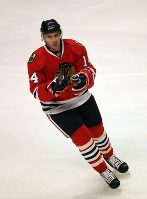 CHICAGO, IL - MARCH 02: Chris Campoli #14 of the Chicago Blackhawks skates against the Calgary Flames at the United Center on March 2, 2011 in Chicago, Illinois. The Blackhawks defeated the Flames 6-4. (Photo by Jonathan Daniel/Getty Images)