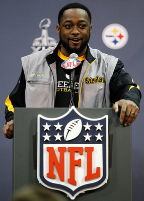 FORT WORTH, TX - FEBRUARY 02:  Head coach Mike Tomlin of the Pittsburgh Steelers talks with the media on February 2, 2011 in Fort Worth, Texas. The Pittsburgh Steelers will play the Green Bay Packers in Super Bowl XLV on February 6, 2011 at Cowboys Stadiu