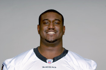 BALTIMORE, MD - CIRCA 2010:  In this handout image provided by the NFL , Jared Gaither of the Baltimore Ravens poses for his 2010 NFL headshot circa 2010 in Baltimore, Maryland.  ( Photo by NFL via Getty Images)