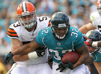 JACKSONVILLE, FL - NOVEMBER 21:  Maurice Jones-Drew #32 of the Jacksonville Jaguars is chased down by Matt Roth #53 during a game agaisnt the Cleveland Browns at EverBank Field on November 21, 2010 in Jacksonville, Florida.  (Photo by Mike Ehrmann/Getty I