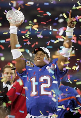 QB Chris Leak holding up the BCS National title trophy after the 41-14 win over Ohio State. It was the first Gator National title in ten years.