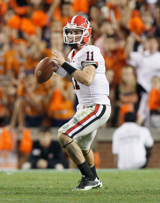 AUBURN, AL - NOVEMBER 13:  Quarterback Aaron Murray #11 of the Georgia Bulldogs against the Auburn Tigers at Jordan-Hare Stadium on November 13, 2010 in Auburn, Alabama.  (Photo by Kevin C. Cox/Getty Images)