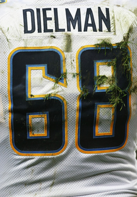 LONDON - OCTOBER 26: The shirt of Kris Dielman of the San DIego Chargers during the Bridgestone International Series NFL match between San Diego Chargers and New Orleans Saints at Wembley Stadium on October 26, 2008 in London, England.  (Photo by Nick Lah