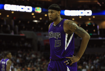 CHARLOTTE, NC - FEBRUARY 25:  DeMarcus Cousins #15 of the Sacramento Kings reacts to a call against the Charlotte Bobcats during their game at Time Warner Cable Arena on February 25, 2011 in Charlotte, North Carolina. NOTE TO USER: User expressly acknowle