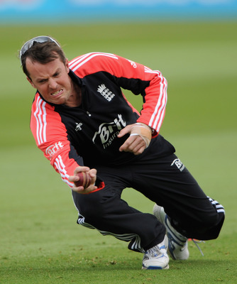 BIRMINGHAM, ENGLAND - AUGUST 09:  Graeme Swann in action during a nets session at Edgbaston on August 9, 2011 in Birmingham, England.  (Photo by Gareth Copley/Getty Images)