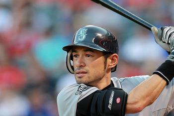 ARLINGTON, TX - AUGUST 09:  Ichiro Suzuki #51 of the Seattle Mariners prepares to bat against the Texas Rangers at Rangers Ballpark in Arlington on August 9, 2011 in Arlington, Texas.  (Photo by Ronald Martinez/Getty Images)