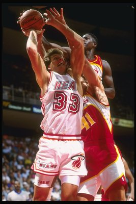 14 Dec 1991:  Forward Alec Kessler of the Miami Heat in action with the ball during a game against the Atlanta Hawks at the Miami Arena in Miami, Florida. Mandatory Credit: Jim Spoontz  /Allsport