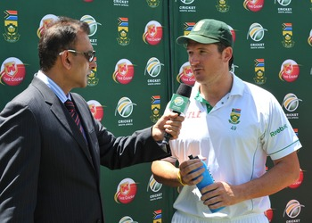 CENTURION, SOUTH AFRICA - DECEMBER 20: Graeme Smith of South Africa interviewed by Ravi Shastri during day 5 of the 1st Test match between South Africa and India at SuperSport Park on December 20, 2010 in Centurion, South Africa  (Photo by Duif du Toit/Ga