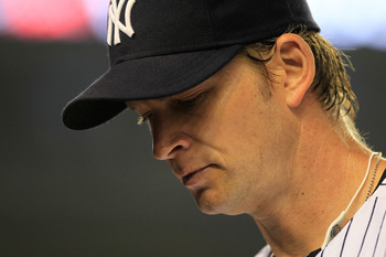 NEW YORK, NY - APRIL 25:  A.J. Burnett #34 of the New York Yankees stands on the field against the Chicago White Sox at Yankee Stadium on April 25, 2011 in the Bronx borough of New York City.  (Photo by Chris Trotman/Getty Images)