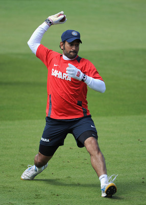 BIRMINGHAM, ENGLAND - AUGUST 09:  Indian captain MS Dhoni during a nets session at Edgbaston on August 9, 2011 in Birmingham, England.  (Photo by Gareth Copley/Getty Images)