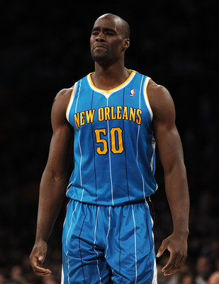 LOS ANGELES, CA - APRIL 20:  Emeka Okafor #50 of the New Orleans Hornets looks on while taking on the Los Angeles Lakers in Game Two of the Western Conference Quarterfinals in the 2011 NBA Playoffs on April 20, 2011 at Staples Center in Los Angeles, Calif